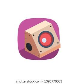Subwoofer illustrate icon, 3d vector design. Color flat palette.