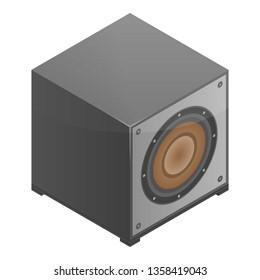Subwoofer speaker icon. Isometric of subwoofer speaker vector icon for web design isolated on white background