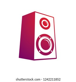 Subwoofer vector illustration, musical equipment, column. Discotheque amplifier, hi-fi device.