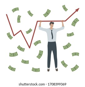 Succcessful businessman. Crisis management help graph arrow profit  up. Power, success of finansial manager. Money rain. Dollar banknotes flow. Growth of earnings concept. Cartoon vector illustration.
