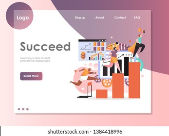 Succeed vector website template, web page and landing page design for website and mobile site development. Superhero businessman holding golden cup, men running to finish, jumping over barrier.