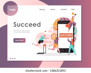 Succeed vector website template, web page and landing page design for website and mobile site development. Leadership, business success, winner concept.