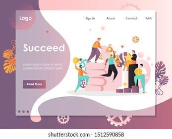 Succeed vector website template, web page and landing page design for website and mobile site development. Business strategy, achievements and success.