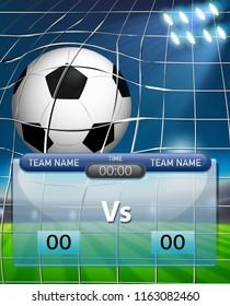 A succer ball scoreboard template illustration