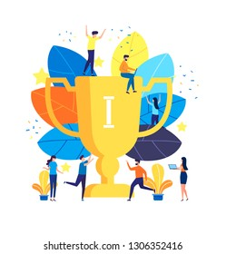 Succes team concept illustration, people celebrate success achievment, can be use for landing page, template, ui, web, mobile app, poster, banner, flyer
