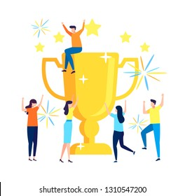 Succes team concept illustration, small people celebrate success achievment by holding a big goblet, can be use for landing page, template, ui, web, mobile app, poster, banner, flyer