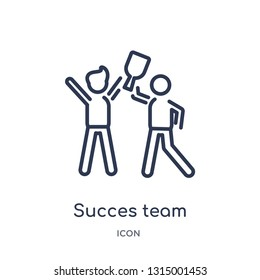 succes team icon from people outline collection. Thin line succes team icon isolated on white background.
