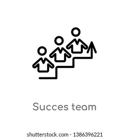 succes team vector line icon. Simple element illustration. succes team outline icon from people concept. Can be used for web and mobile