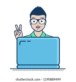 Succesful freelancer have found clients and new projects. Freelance business. Self-employed. Vector flat icon illustration isolated on white background.