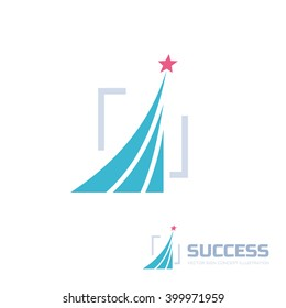 Success - abstract vector logo. Design elements with star sign. Development symbol. Growth and start-up concept illustration.