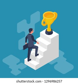 Success achievement. Businessman go to victory. Desire to win. Way to victory. Vector illustration flat design. Isolated on white background. Man on stairs goes up to the golden cup.