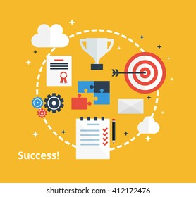 Success and achievement concept. Vector icons of purpose, plan, cup in flat style. Business success in company illustration.