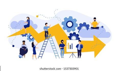 Success advance business plan boost vector concept illustration. Cartoon people bank bond teamwork with arrow. Achievement person career ambition leadership job. Marketing performance promotion ahead