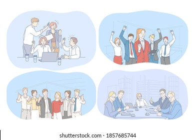 Success, agreement, business, negotiations, teamwork concept. Happy young business people partners cartoon characters showing thumb up sign after successful meeting, discussing business development