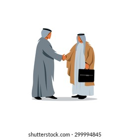 Success Arabic Business. Two Saudi Sheikhs shaking hands over a deal. Vector Illustration. Branding Identity Corporate logo design template Isolated on a white background