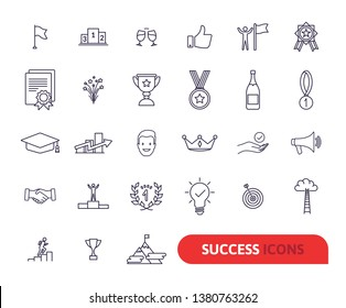 Success, awards, achievement elements - minimal thin line web icon set. Outline icons collection. Simple vector illustration. Award line icon set. Success, winning concept. Trophy sign. Like symbol