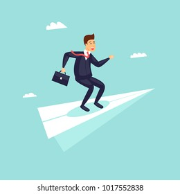 Success in business, businessman on an airplane flies upwards. Flat design vector illustration.