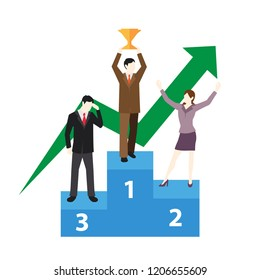 Success Business Concept people stand on the podium