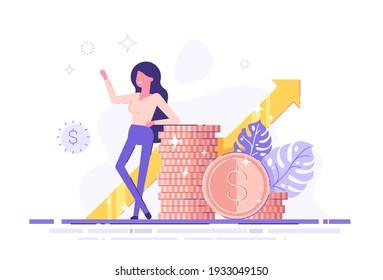 Success business woman standing near by heap of her money. Stock market service. Financial advisor. Modern vector illustration.