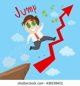 Success businessman riding on growing chart, vector  illustration cartoon