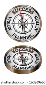 Success Compass is an illustration representing the concept of success as being true north on a directional compass.