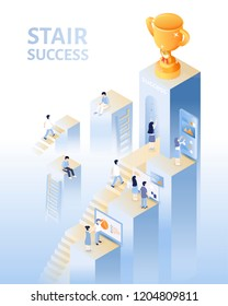 Success concept in 3d isometric projection, people climbing up the stairs for the trophy