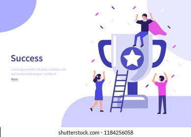 Success concept banner. Can use for web banner, infographics, hero images. Flat vector illustration isolated on white background.