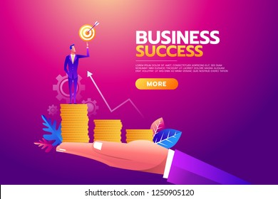 Success concept. Businessman holding goal target, briefcase full of money,All targets achieved. Business vector illustration, concept, flat.