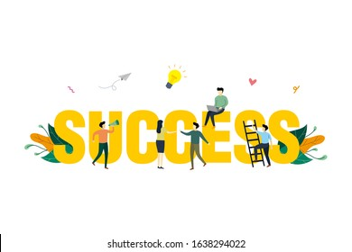 Success concept illustration, business marketing, finance, flat design of tiny people around big word success, suitable for background, landing page, advertising illustration