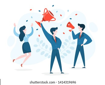 Success concept. Winning in competition. Getting reward or prize for achievement. Goal, inspiration. hard work and result. Vector illustration in cartoon style