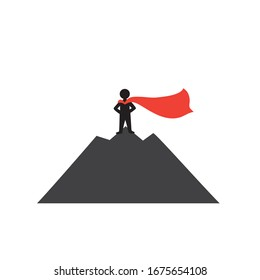 Success concept.A man with a red cloak stands on top of a mountain. Winner.Number one.Symbol of success.Winning from competitors. Isolated stock vector illustration on a white background.