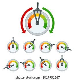 Success conceptual meter hundred percent. Set of Metal framed customer satisfaction meter.