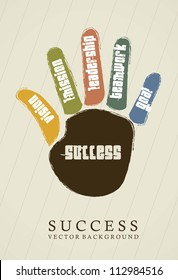success conceptual over hand, vintage. vector illustration