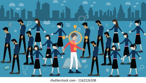 Success concept,Walk against crowd,Happy man walk against unhappy person groups – Vector Illustration