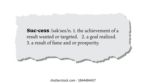 Success Definition on a Torn Piece of Paper