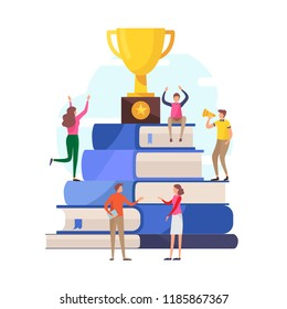 Success education concept. winner,reward,competition,knowledge, skills.Flat cartoon miniature  illustration vector graphic on white background.