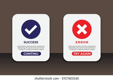 Success and error messages. Great vectors for social media, web, apps, chat etc.
