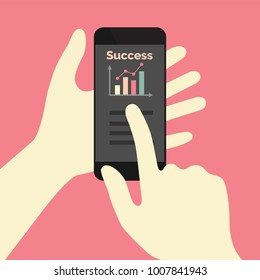 Success graph on phone app