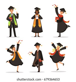 Success and happy students. Graduation in different countries. Vector characters