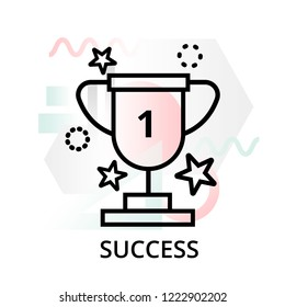 Success icon on abstract background from startup set, modern editable line vector illustration, for graphic and web design
