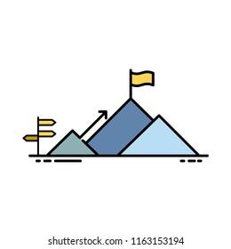 Success icon, Outline icon, mountain icon, milestone, achievement, direction, Business opportunity, Aim, Target, Aspiration