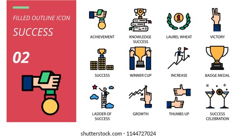 Success icon pack filled outline style. Icons for success,achievement,knowledge success,laurel wheat,victory,winner cup,increase,badge medal,ladder of success,growth,thumbs up,success,celebration.