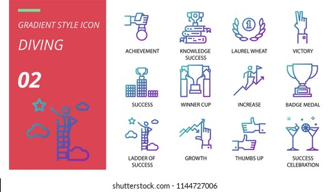 Success icon pack gradient style. Icons for success,achievement,knowledge success,laurel wheat,victory,winner cup,increase,badge medal,ladder of success,growth,thumbs up,success,celebration.