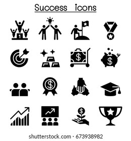 Success icon set flat style