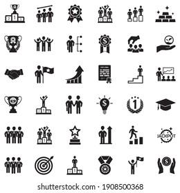 Success Icons. Black Flat Design. Vector Illustration.