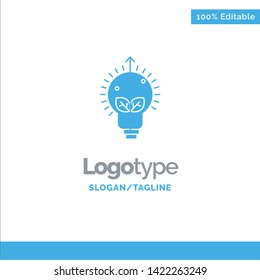 Success, Idea, Bulb, Light Blue Solid Logo Template. Place for Tagline