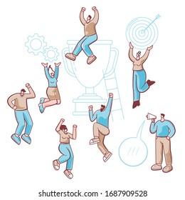 Ilustración exitosa con gente de negocios, trabajo en equipo, concepto de celebración de la victoria