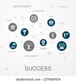 success layout template, modern concept infographics. achievement, champion, award, attainment icons