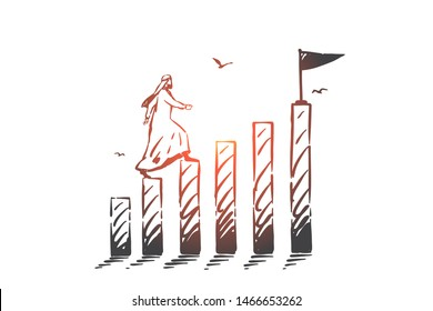 Success, leadership concept sketch. Arab in niqab going up on separate logs to reach final with flag. Hand drawn isolated vector illustration