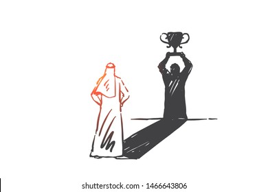 Success, leadership, self-confidence concept sketch. Arab in niqab standing and looking at his shadow as winner with first prize cup. Hand drawn isolated vector illustration